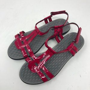 NEW Clarks Flat Sandals Red Patent Leather Strappy